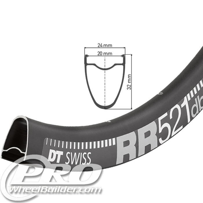 DT SWISS RR 521 700C BLACK DISC BRAKE RIM