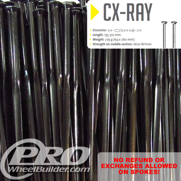 SAPIM CX RAY STRAIGHT PULL BLACK BLADED 14|21|14G OR 2.2|0.9MM SPOKES