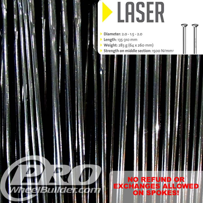 SAPIM LASER STRAIGHT PULL BLACK DOUBLE BUTTED 14 17 14G OR 2.0 1.5 2.0MM SPOKES