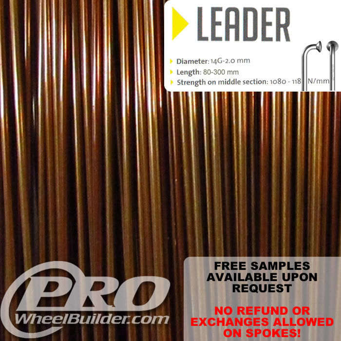 SAPIM LEADER J BEND COPPER CANDY 14G OR 2.0MM SPOKES