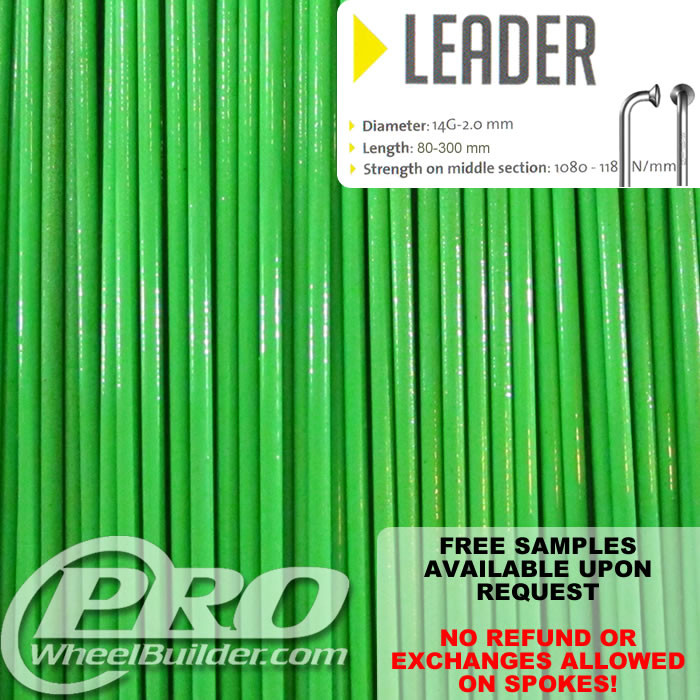 SAPIM LEADER J BEND GREEN KAWASAKI 14G OR 2.0MM SPOKES