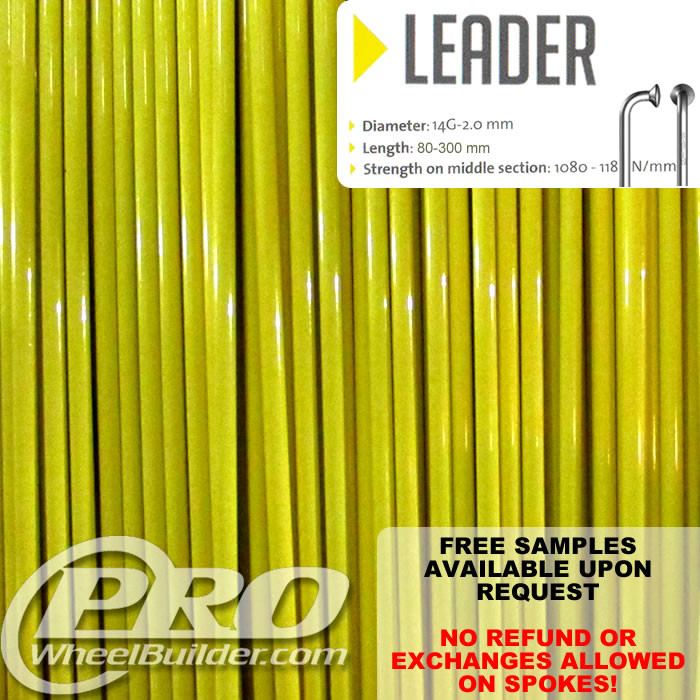 SAPIM LEADER J BEND YELLOW 14G OR 2.0MM SPOKES