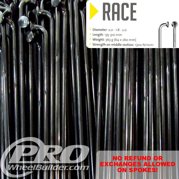 SAPIM RACE J BEND BLACK DOUBLE BUTTED 14|15|14G OR 2.0|1.8|2.0MM SPOKES