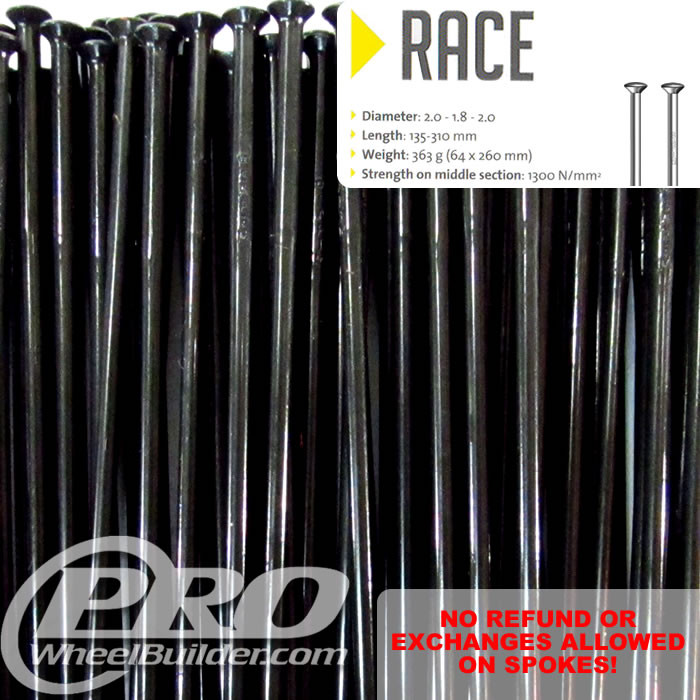 SAPIM RACE STRAIGHT PULL BLACK DOUBLE BUTTED 14|15|14G OR 2.0|1.8|2.0MM SPOKES