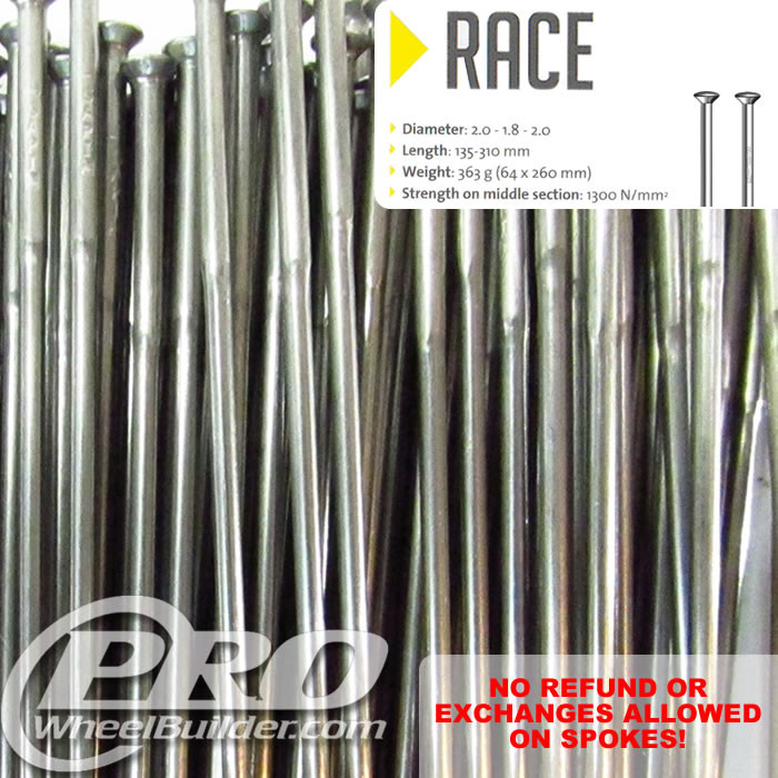 SAPIM RACE STRAIGHT PULL SILVER DOUBLE BUTTED 14|15|14G OR 2.0|1.8|2.0MM SPOKES