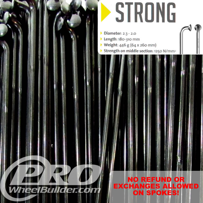 SAPIM STRONG J BEND BLACK SINGLE BUTTED 14 13G OR 2.0 2.4MM SPOKES