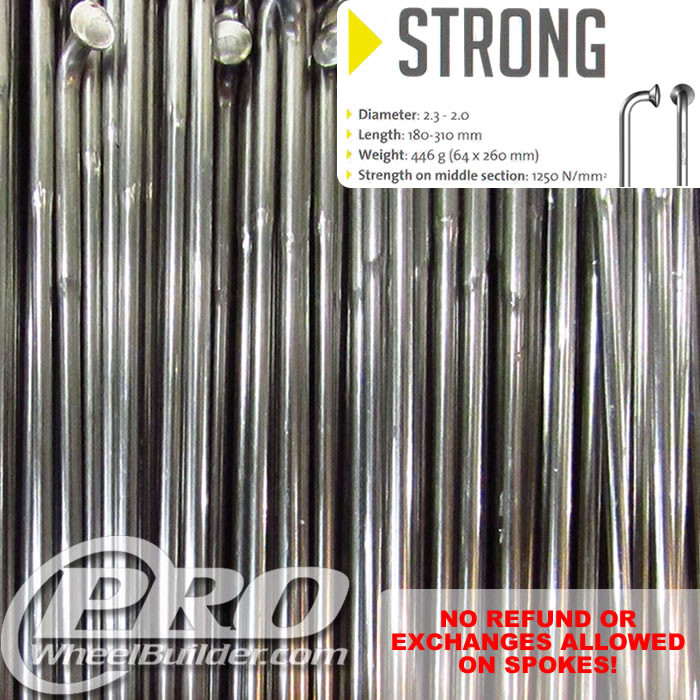 SAPIM STRONG J BEND SILVER SINGLE BUTTED 14 13G OR 2.0 2.4MM SPOKES