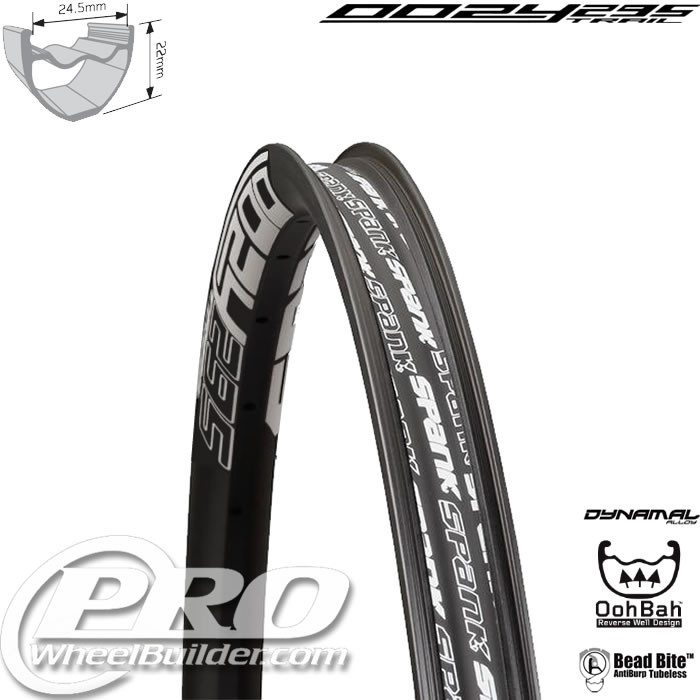 SPANK OOZY TRAIL 295 BLACK WITH WHITE DECAL 26 IN RIM
