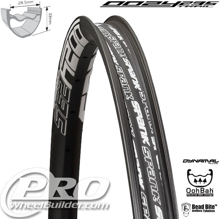 SPANK OOZY TRAIL 295 BLACK WITH WHITE DECAL 29 IN RIM
