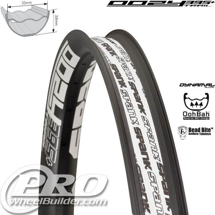 SPANK OOZY TRAIL 395+ BLACK WITH WHITE DECAL 27.5 IN RIM