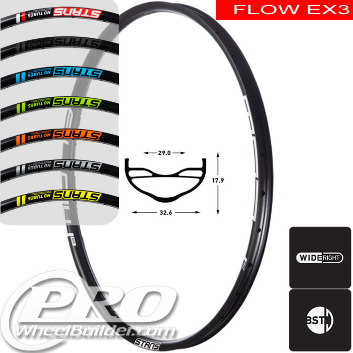 STANS NO TUBES FLOW EX3 DISC BRAKE 29IN BLACK RIM