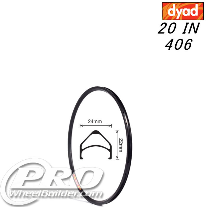 VELOCITY DYAD NMSW 20 IN 406MM BLACK RIM
