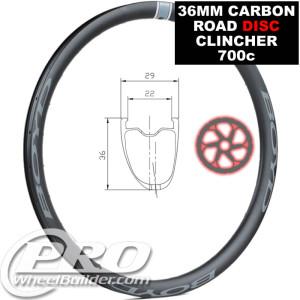 BOYD 36 ROAD CARBON CLINCHER TUBELESS DISC 700C RIM