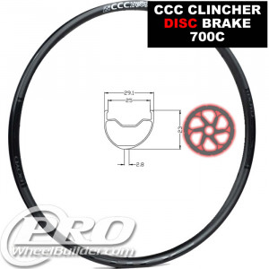 BOYD CCC CLINCHER TUBELESS DISC 700C RIM