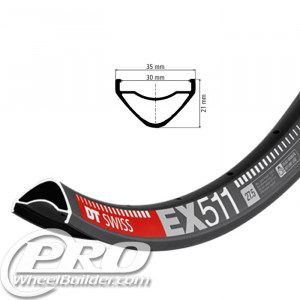 DT SWISS EX 511 27.5IN BLACK DISC BRAKE RIM