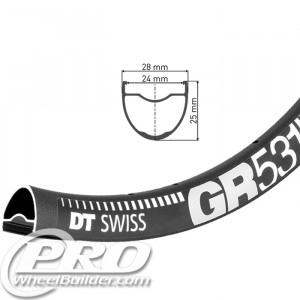 DT SWISS GR 531 700C BLACK DISC BRAKE RIM