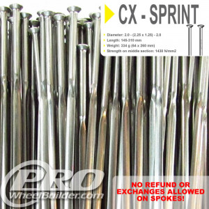 SAPIM CX SPRINT STRAIGHT PULL SILVER BLADED 14|21|14G OR 2.25|1.25MM SPOKES