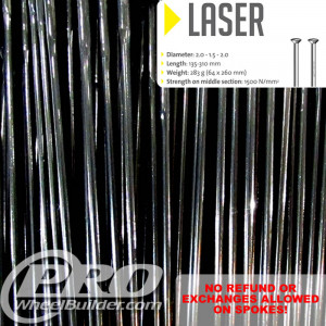 SAPIM LASER STRAIGHT PULL BLACK DOUBLE BUTTED 14|17|14G OR 2.0|1.5|2.0MM SPOKES