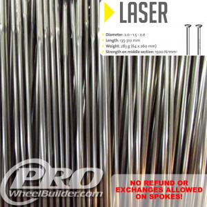 SAPIM LASER STRAIGHT PULL SILVER DOUBLE BUTTED 14|17|14G OR 2.0|1.5|2.0MM SPOKES