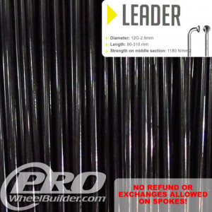 SAPIM LEADER J BEND BLACK 12G OR 2.6MM SPOKES