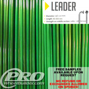 SAPIM LEADER J BEND GREEN CANDY 14G OR 2.0MM SPOKES