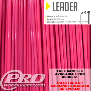 SAPIM LEADER J BEND PINK HOT 14G OR 2.0MM SPOKES