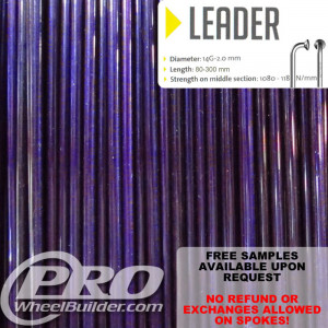 SAPIM LEADER J BEND PURPLE CANDY 14G OR 2.0MM SPOKES