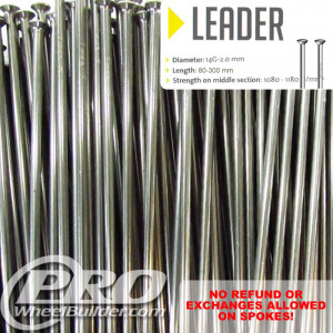 SAPIM LEADER STRAIGHT PULL SILVER 14G OR 2.0MM SPOKES