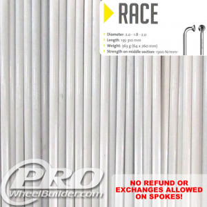 SAPIM RACE J BEND WHITE DOUBLE BUTTED 14 15 14G OR 2.0 1.8 2.0MM SPOKES