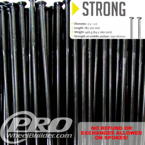 SAPIM STRONG STRAIGHT PULL BLACK SINGLE BUTTED 14|13G OR 2.0|2.4MM SPOKES