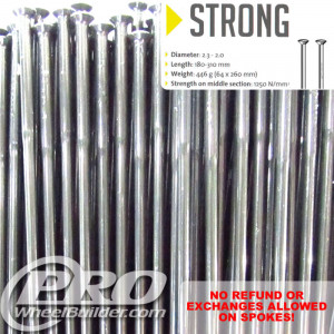 SAPIM STRONG STRAIGHT PULL SILVER SINGLE BUTTED 14|13G OR 2.0|2.4MM SPOKES