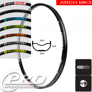 STANS NO TUBES ARCH MK3 DISC BRAKE 27.5IN BLACK RIM