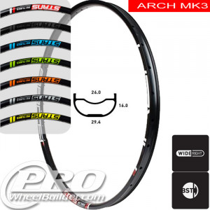 STANS NO TUBES ARCH MK3 DISC BRAKE 29IN BLACK RIM