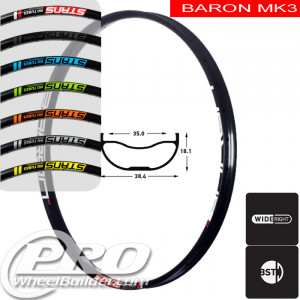 STANS NO TUBES BARON MK3 DISC BRAKE 27.5IN BLACK RIM