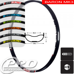 STANS NO TUBES BARON MK3 DISC BRAKE 29IN BLACK RIM