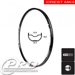 STANS NO TUBES CREST MK3 DISC BRAKE 24IN BLACK RIM