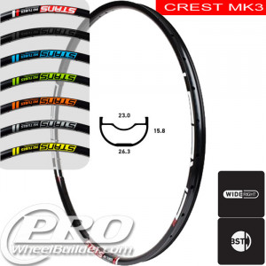 STANS NO TUBES CREST MK3 DISC BRAKE 29IN BLACK RIM