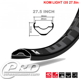 WTB KOM LIGHT TCS I 35 27.5IN BLACK RIM